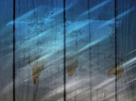 Outline map of world overlaid on wood planks Stock Photo - 5903610