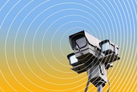 big brother spy: Detalle de la c�mara de seguridad que se superponen con c�rculos Foto de archivo