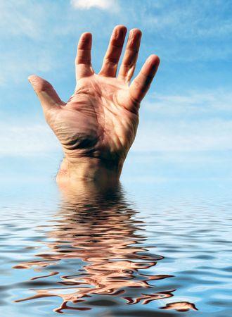 La mano dell'uomo raggiunge l'acqua simulata