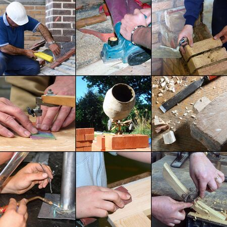 Selection of images relating to construction skills and crafts photo