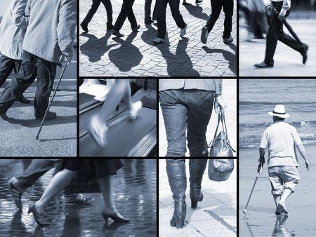 Colecci�n de im�genes relativas a personas caminar o al correr  Foto de archivo - 6337219