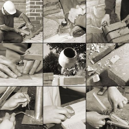 Collection of images relating to trades and crafts (sepia toned). photo