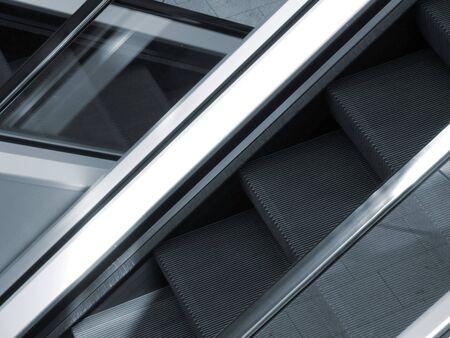 conveyor rail: Closeup of empty escalator inside of department store