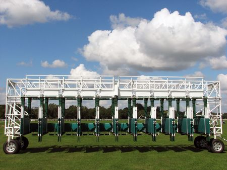 Horse racing starting gate at York racecourse Stock Photo