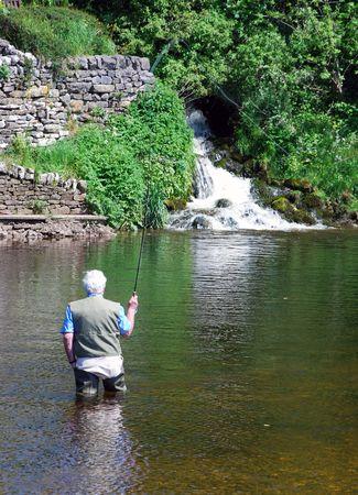 oap: Elderly man enjoys fishing in River Wharfe