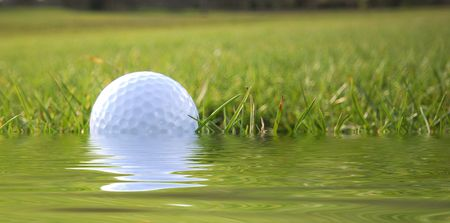 Closeup of golf ball in simulated water