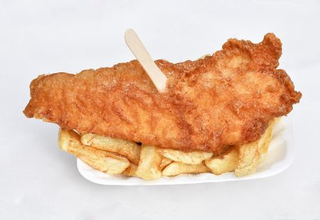 Mouth wateringly delicious fish and chips meal photo