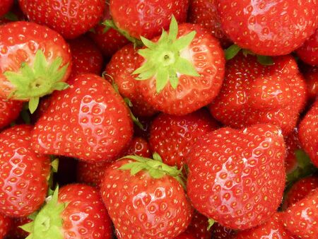 Closeup of delicious ripe strawberries on market stall Stock Photo - 6789720