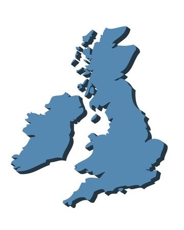 uk: 3D outline map of UK and Ireland in blue