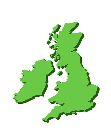 eire: 3D outline map of UK and Ireland in green