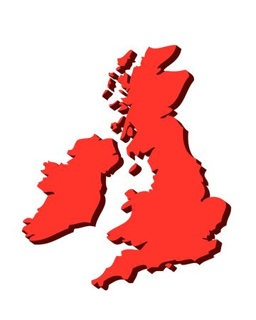 gb: 3D outline map of UK and Ireland in red