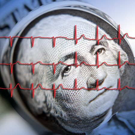 American dollar note overlaid with ECG graph photo