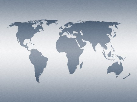World map on simulated stainless steel pattern Stock Photo