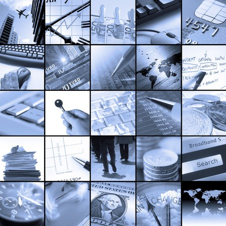 Twenty five blue toned images relating to business photo