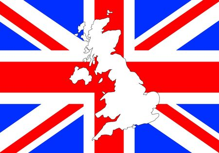 Outline shape of UK over Union Jack flag Stock Photo - 7051509