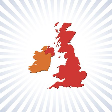 eire: UK and Eire outline map over circular stripes