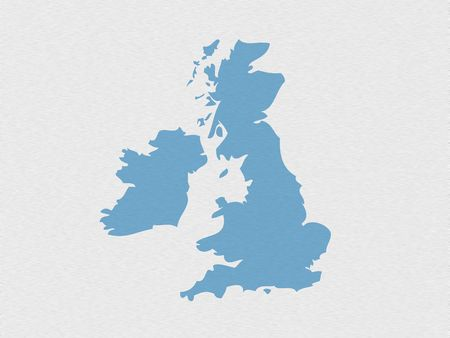 eire: Outline map of UK on simulated stainless steel background
