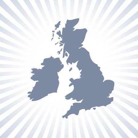 eire: Outline map of UK and Eire over stripe pattern