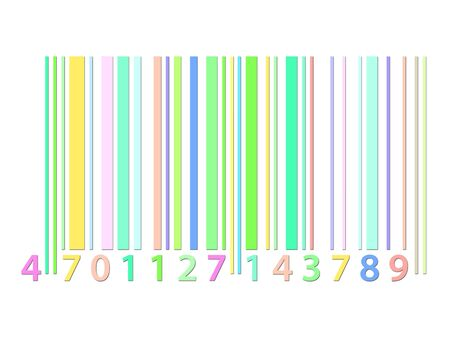 Coloured barcode graphic over a white background photo
