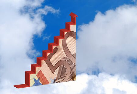 Conceptual image showing Euro graph against clouds photo