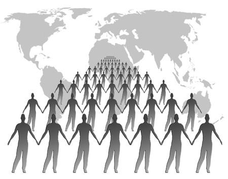 poblacion: Mapa del mundo de contorno de la cual se superpone con las formas masculinas  Foto de archivo