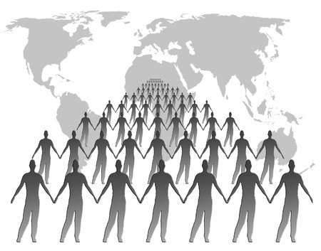 populations: Outline world map overlaid with male shapes