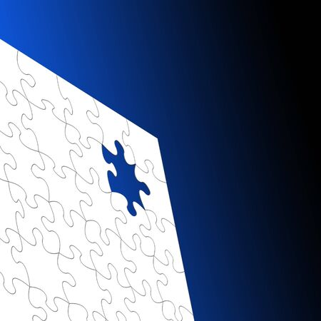 White Jigsaw puzzle over graduated blue background Stock Photo - 7606783