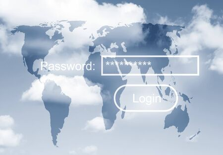 Security concept with password request over world map in sky Stock Photo - 7606780