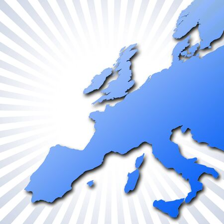 eire: Outline map of Europe over circular stripe pattern