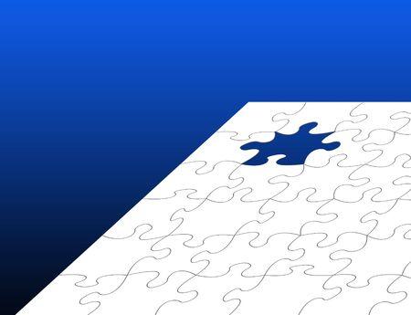 graduated: White Jigsaw puzzle over graduated blue background Stock Photo