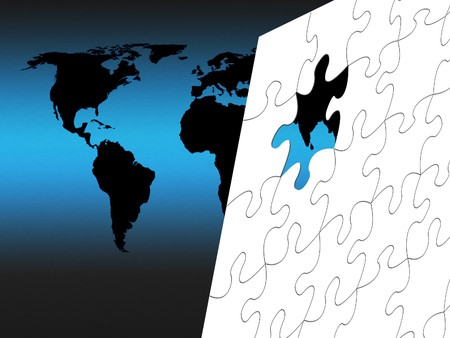 Black outline world map with white jigsaw  photo