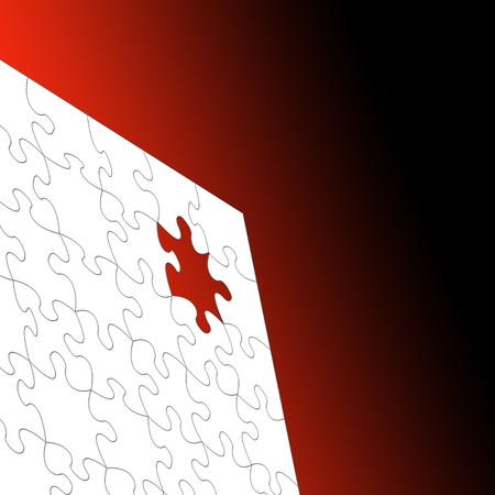 White Jigsaw puzzle over graduated red background Stock Photo - 7653506