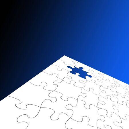 White Jigsaw puzzle over graduated blue background Stock Photo - 7653528