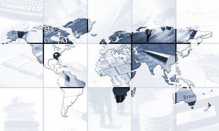 World map over images relating to business photo