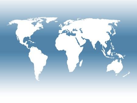 outline map: World outline map over blue toned background