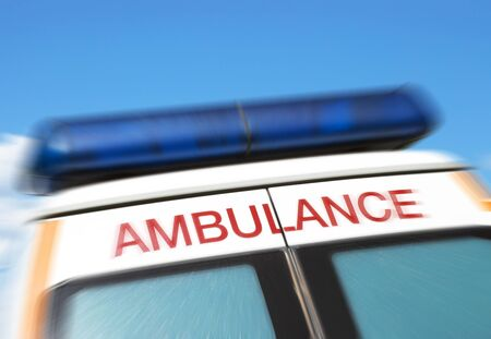 ambulance car: Closeup of sign on ambulance with zoom effect