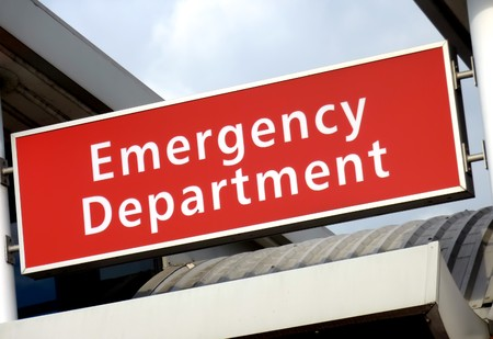 View of the emergency sign at the local hospital Stock Photo