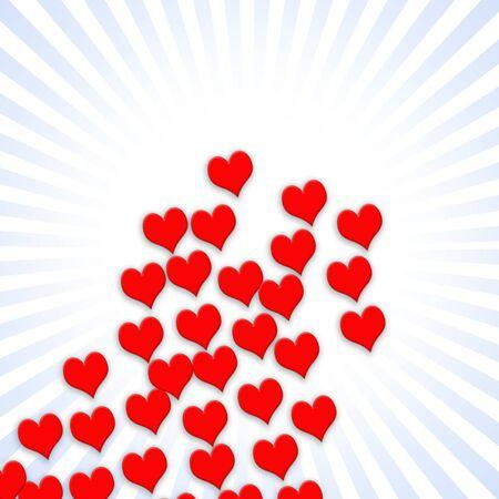 Valentine illustration showing multiple  hearts over stripes Stock Illustration - 7833496