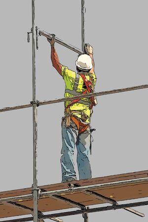 Illustration of construction worker on building site Stock Illustration - 7833563