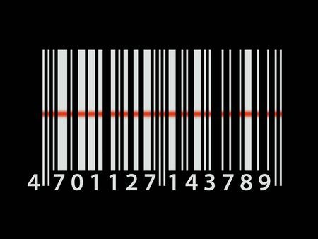 Illustration showing bar code numbers being scanned illustration