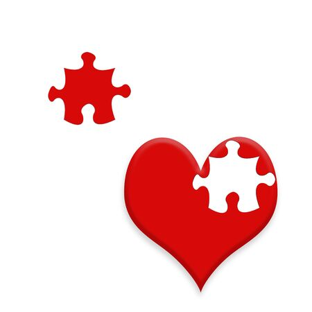 Valentine card illustration with jigsaw piece heart shapes Stock Illustration - 7833592