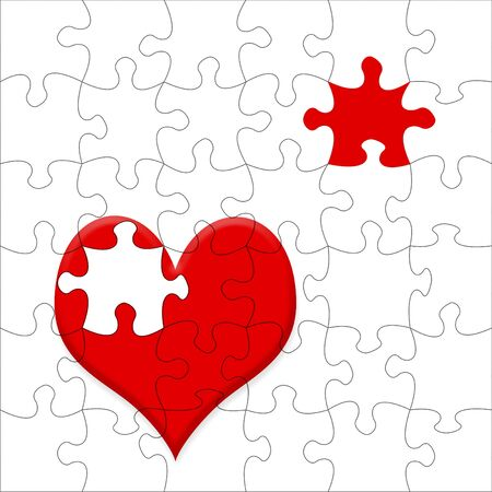 Valentine card illustration with jigsaw piece heart shapes illustration