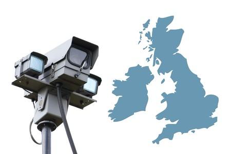 Surveillance camera overlooks outline map of UK photo