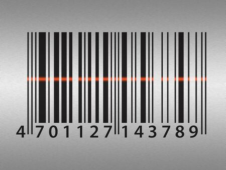 Barcode illustration over simulated stainless steel pattern illustration