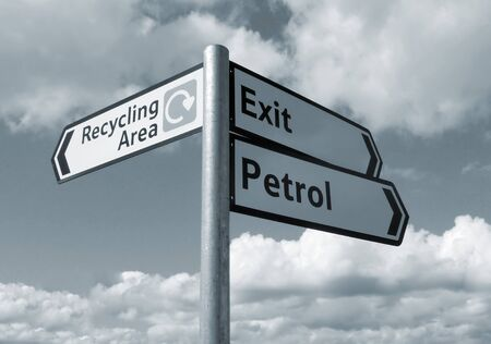 recycle area: Close up of road sign against cloudy sky (toned blue).