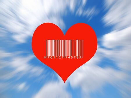 Valentine card illustration showing heart in sky with barcode