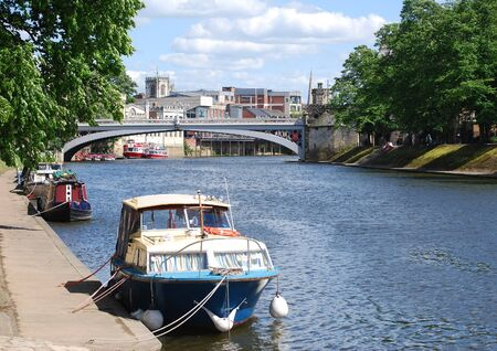 ouse: Postcard view of York showing river Ouse boats