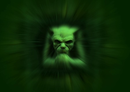 gremlin: Stone carved gremlin figure with zoom effect in green