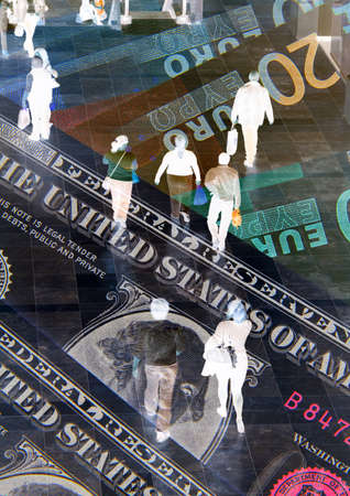 Dollar and Euro banknotes overlaid with shoppers photo