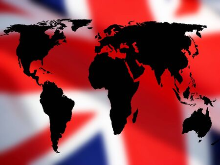 trade union: Trade concept showing World map over British Union Jack flag